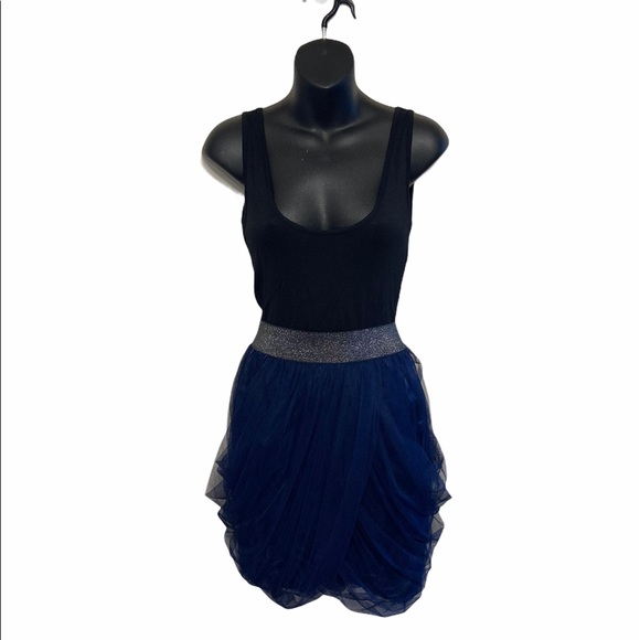 Charolette Russe black and blue sleeveless dress
